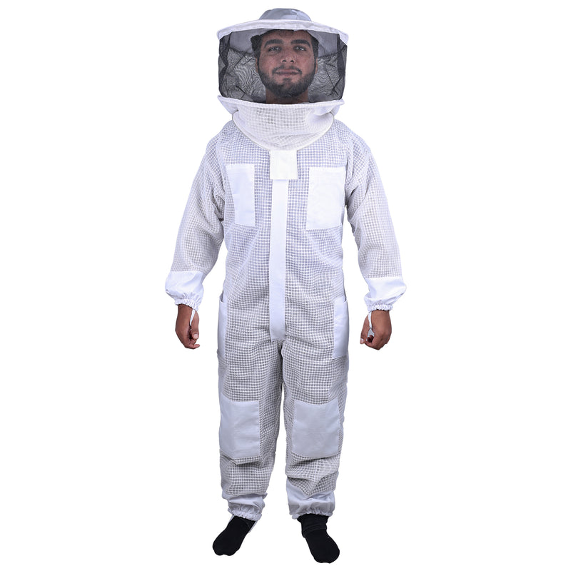 Beekeeping Bee Full Suit 3 Layer Mesh Ultra Cool Ventilated Round Head Beekeeping Protective Gear