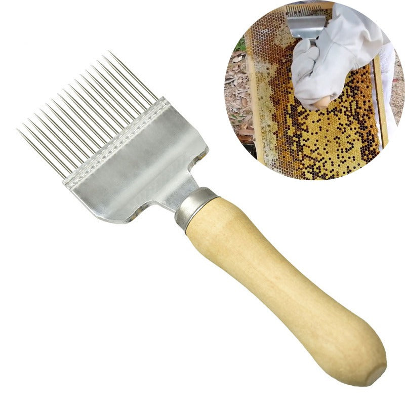 Stainless Steel Honey Knife Straight Needle Honey Comb Uncapping Fork Wood Handle Beekeeping Tools