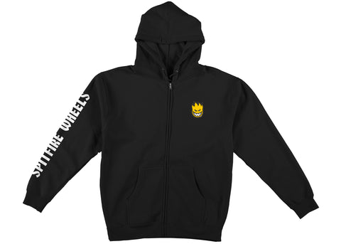 Spitfire Lil Bighead Hombre Zip Up Hood Black with Yellow & White Prints