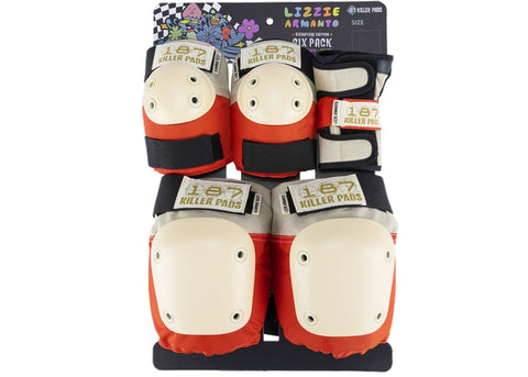 187 Killer Pads Jr Six Pack Lizzie Grey/Red