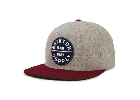 Brixton Oath III Snapback Heather Grey/Cardinal