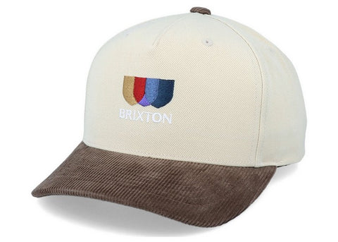 Brixton Alton Embroidered Curved MP Snapback Ivory/Toffee