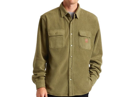 Brixton Bowery L/S Fleece Woven Military Olive