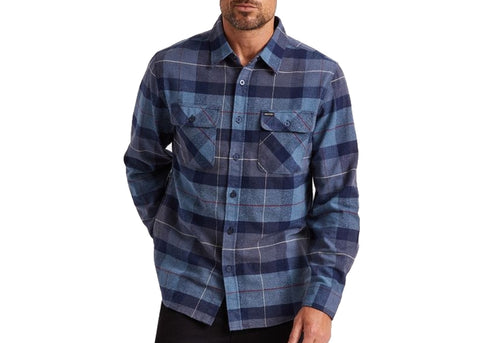 Brixton Bowery L/S Flannel Navy/Carolina Blue