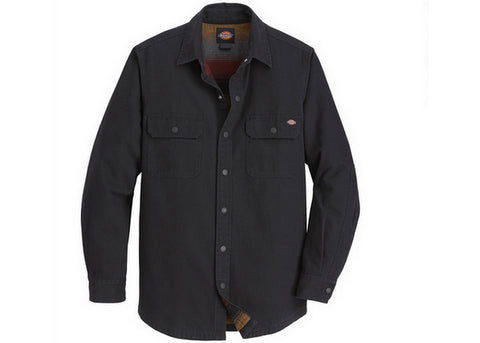 Dickies Regular Fit  Flannel Lined Duck Shirt Rinsed Black