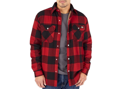 Dickies Sherpa Linned Flannel Shirt Jacket Red Plaid