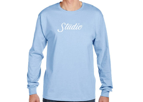 Studio Big Script Long Sleeve Tee Powder Blue