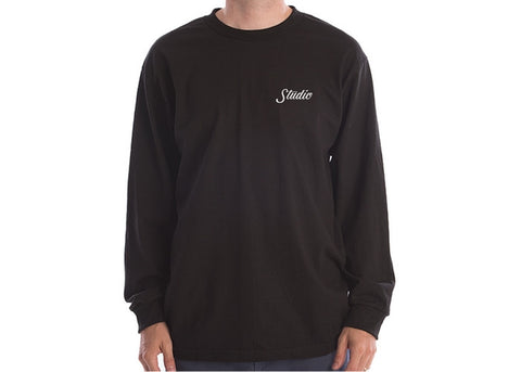 Studio Small Script Long Sleeve Tee Black