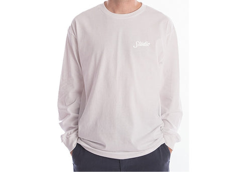 Studio Small Script Long Sleeve Tee White
