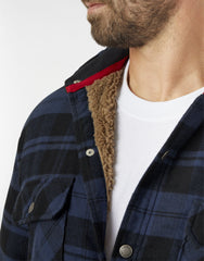 Dickies Sherpa Linned Flannel Shirt Jacket Ink Navy Plaid