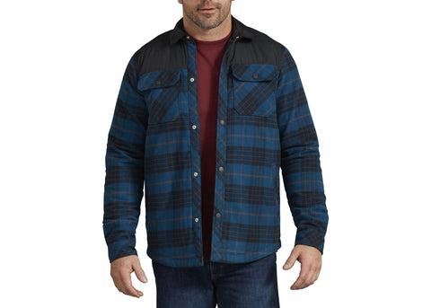 Dickies Flannel Shirt Jacket Storm Blue Black Plaid