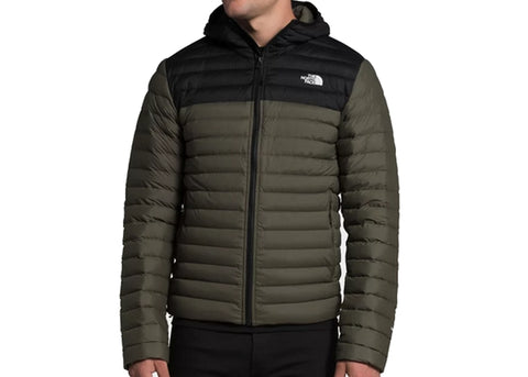The North Face Stretch Down Hoodie New Taupe Green/TNF Black