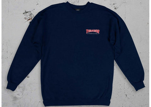 Thrasher Embroidered Outlined Crew Navy