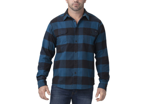 Dickies FLEX Long Sleeve Flannel Shirt Storm Blue Black Buffalo Plaid
