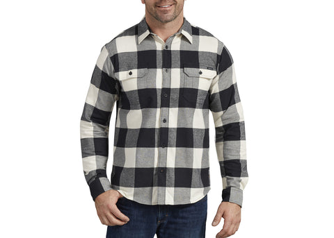 Dickies FLEX Long Sleeve Flannel Shirt White Black Buffalo Plaid
