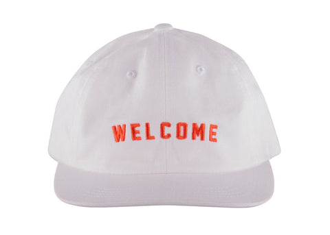 Welcome Academic Unstructured Snapback Cap White Orange