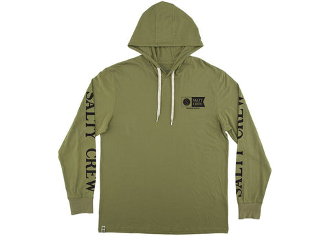 Salty Crew Alpha Refuge Hood Tech L/S Tee Green