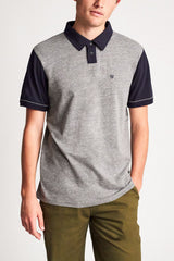 Brixton Carlos S/S Polo Heather Grey/Navy
