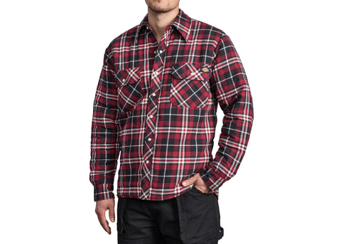 Dickies Quilted Snap Front Plaid Shirt Black Red
