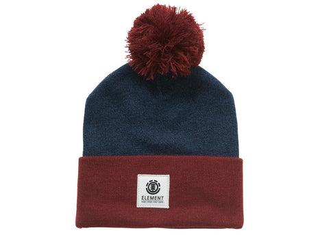 Element Dusk Pom Beanie Denim Heather Oxblood