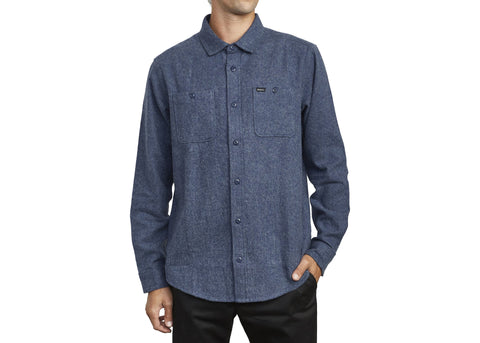 RVCA Harvest Flannel L/S Shirt Moody Blue