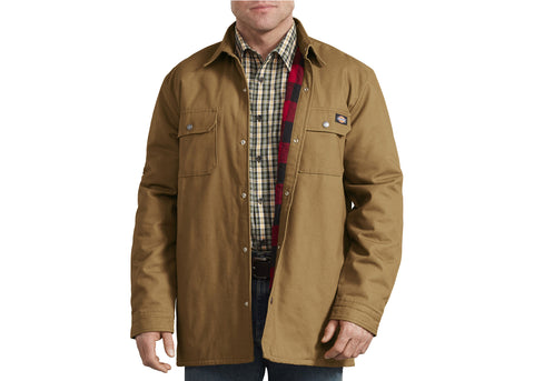Dickies Plaid Lined Shirt Jacket Brown Duck