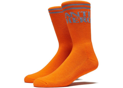 AntiHero Blackhero if Found Socks Orange Light Blue