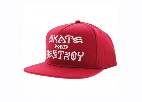 Thrasher Skate and Destroy Embroidered Snapback Red