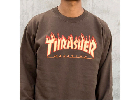 Thrasher Crew Flame Logo Brown