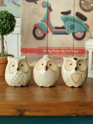 Owl Ceramics Decorative Craft 3pcs - Urban Collective