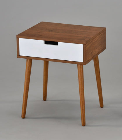 Light Walnut/White Nighstand with Drawer - Urban Collective