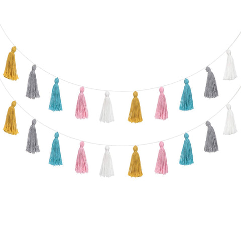 Multi Colored Cotton Tassel Garland - 2 Pack