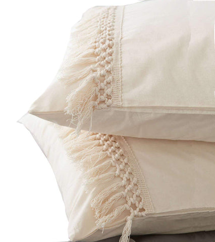 Tassel Sham Cotton Pillow Covers - Set of 2 - Urban Collective