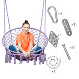 Purple Macrame Hanging Chair - Urban Collective