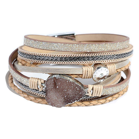 Druzy Leather Cuff Bracelet - Urban Collective