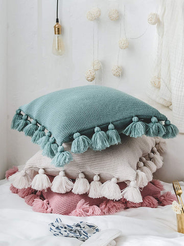 Tassel Trim Detail Decorative Pillow 1pc - Urban Collective