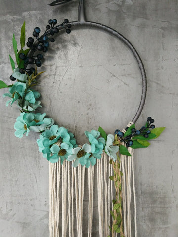 Macrame Fringe Floral Flower Wreath