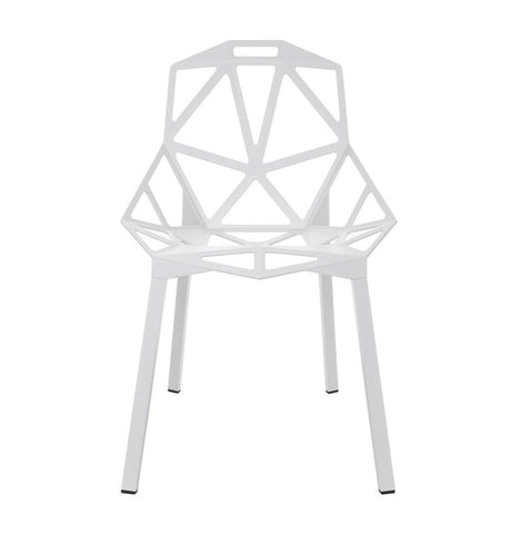 Luke Modern Aluminium Dining Chair - White - Urban Collective