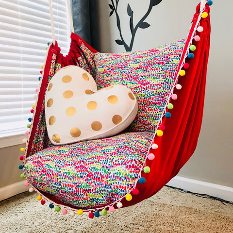 Rainbow Hammock Chair With Pom Pom Trim