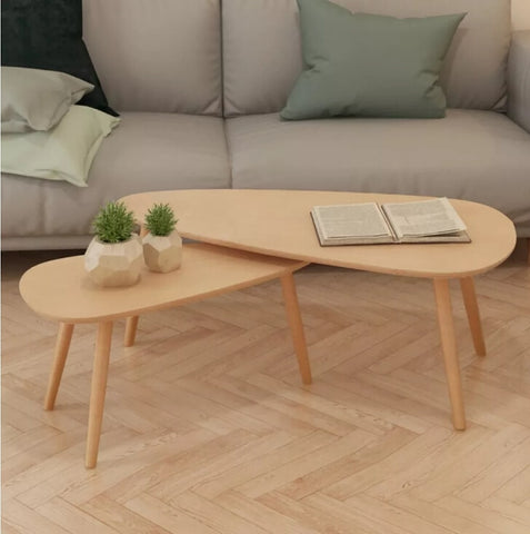 Set of 2 Solid Pinewood Coffee Tables