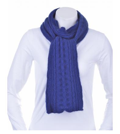 McDonald Possum Merino Cable Scarf Blue