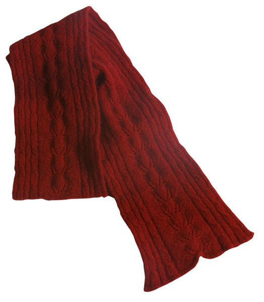 McDonald Possum Merino Cable Scarf Red