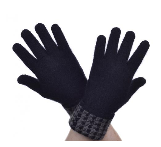 McDonald Possum Merino Houndstooth Glove Black and Bark