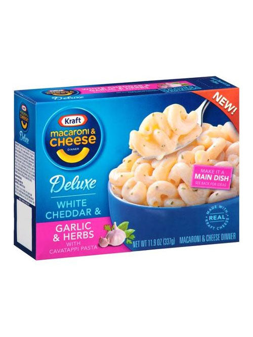 Kraft Deluxe White Cheddar & Garlic & Herbs Macaroni & Cheese (337g)