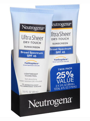 Neutrogena Ultra Sheer Dry-Touch Sunscreen Lotion Broad Spectrum SPF 45 (Pack of 2) (89ml)