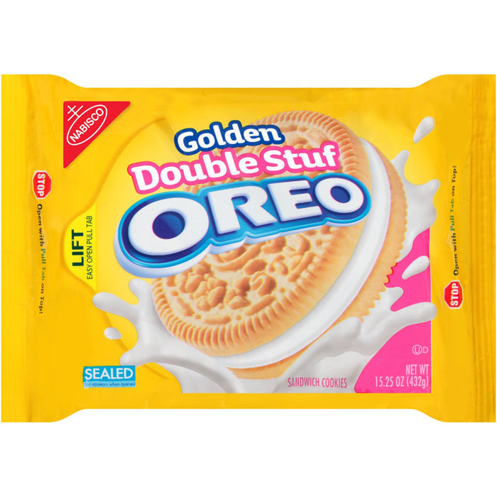 Oreo Double Stuf Golden Sandwich Cookies (432g)