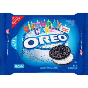 Oreo Birthday Cake Flavor Creme Chocolate Sandwich Cookies (432g)