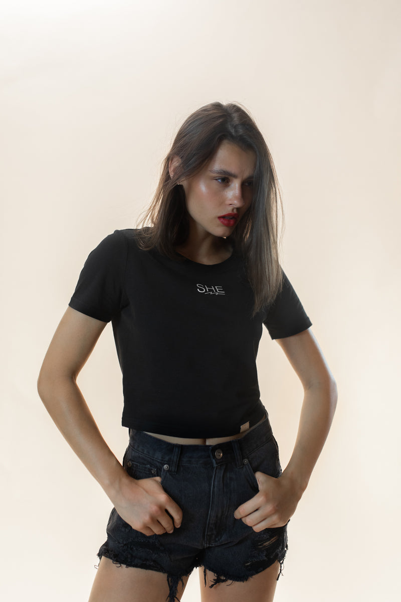 Dilara Cropped Shirt black
