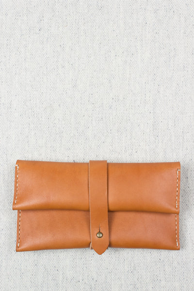 Long Folded Stud Wallet in Tan