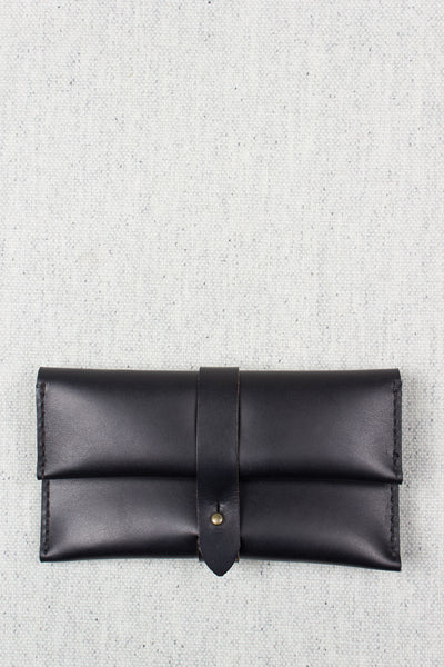 Long Folded Stud Wallet in Black